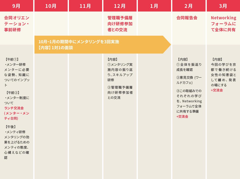 (9月)合同オリエンテーション・事前研修 (12月)管理職予備層向け研修参加者との交流 (2月)合同報告会 (3月)Networkingフォーラムにて全体に共有 ※10月〜1月の期間中にメンタリングを3回実施【内容】1対1の面談